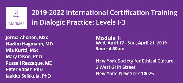 2019-2022 International Certification Training in Dialogic Practice: Levels I-3